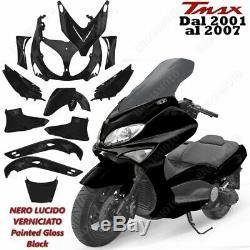 12 Pieces Kit Carenage Gloss Black Yamaha Tmax Tmax 500 2001/2007 Hull