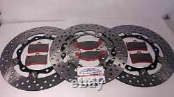Set 3 Brake Discs T-max Yamaha Pads Tmax 500 2008 2009 2010 2011