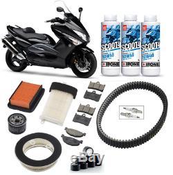 Kit Révision filtre à air huile bougie courroie Yamaha 500 T-MAX 08/11 3L Ipone
