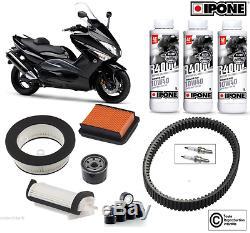 Pack Révision filtre à air huile Ipone bougie courroie Yamaha 500 T-MAX 08-11