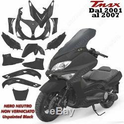 Set 12 Pieces Carenages Noir Brut Non Peint Yamaha T-max Tmax 500 2001/2007